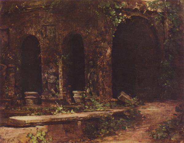 Carl Blechen: Grotte im Park der Villa d'Este bei Rom (Quelle: Wikimedia Commons)
