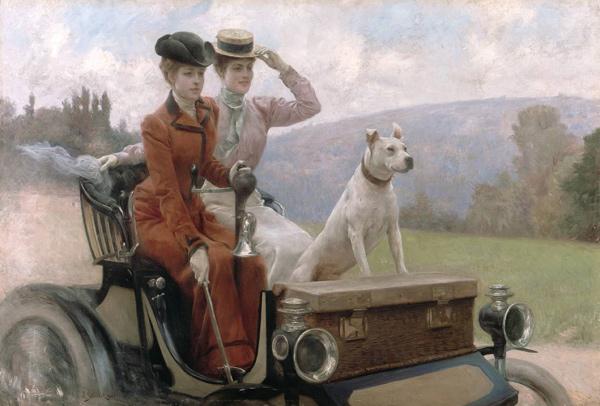 Julius LeBlanc Stewart - Les Dames Goldsmith au blois de Boulogne en 1897 sur une voiturette (Quelle: Wikimedia Commons)