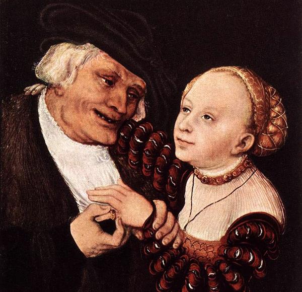 Lukas Cranach der Ältere - Alter Mann und junge Braut (Quelle: Wikimedia Commons)