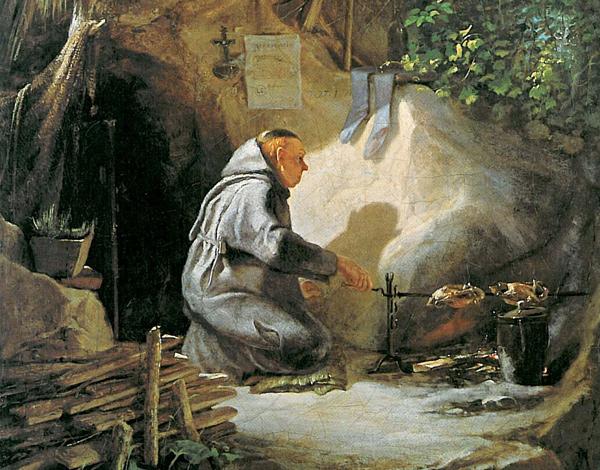 Carl Spitzweg - Eremit, ein Hühnchen bratend (Quelle: Wikimedia Commons)