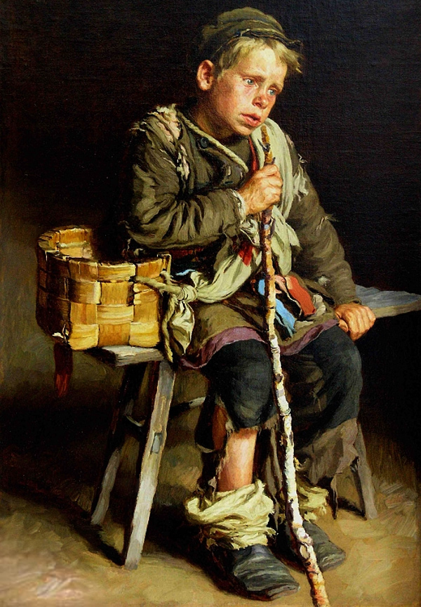 Ivan Tvorozhnikov - Beggar with a basket (Quelle: kmkmuzey.ru)