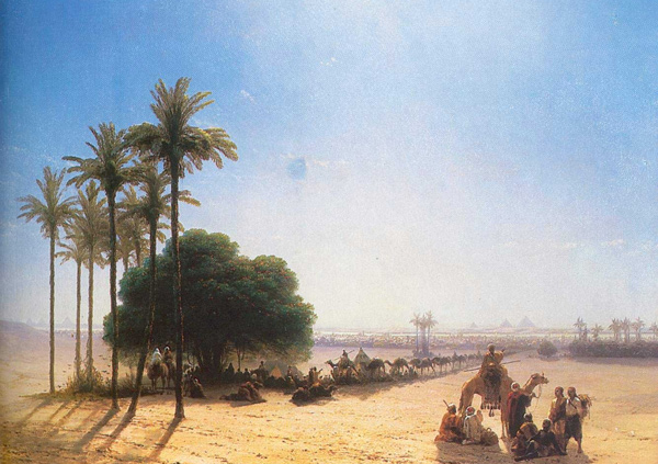 Ivan Aivazovsky - Caravan in the Oasis, Egypt (Quelle: Wikipaintings)