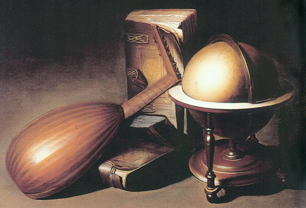 Gerrit Dou - Still Life with Globe, Lute, and Books (Quelle: Wikipaintings)