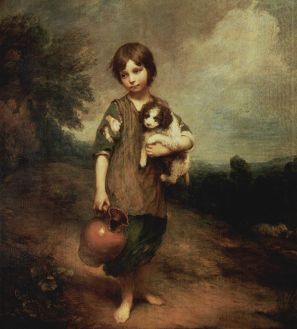 Thomas Gainsborough - A peasant girl with dog and jug (Quelle: Wikipaintings)