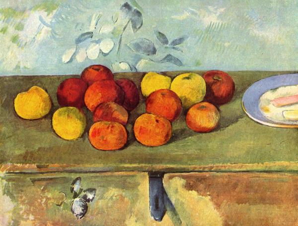 Paul Cézanne - Pommes avec biscuit (Quelle: Wikipaintings)