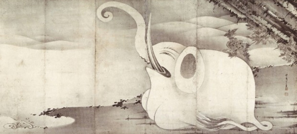 Ito Jakuchu - Elefant und Wal (Quelle: Wikipaintings)