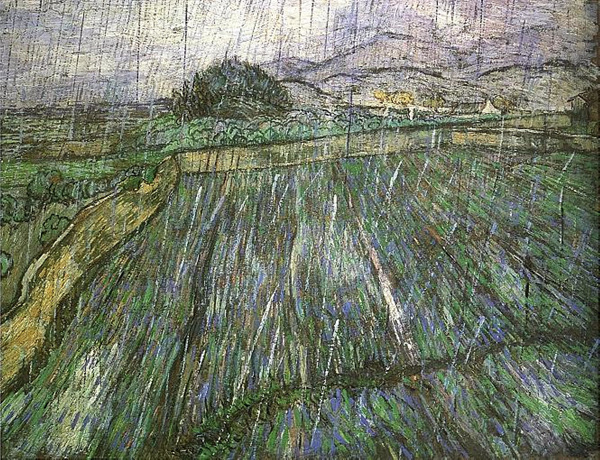 Vincent van Gogh - Wheat field in the rain (Quelle: Wikipaintings)