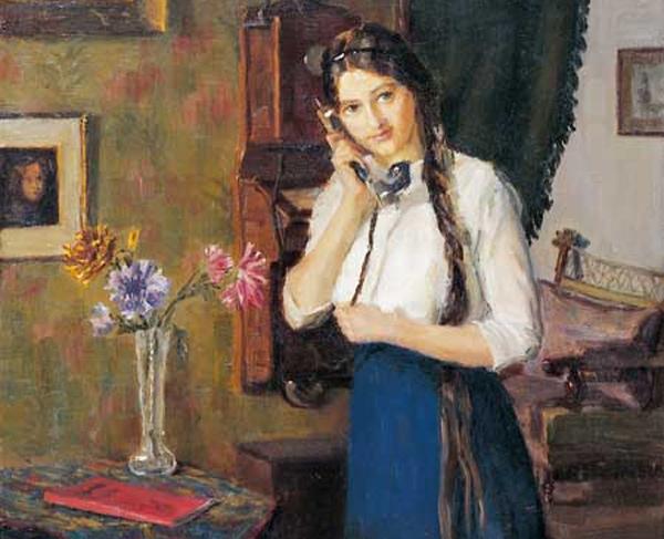 Max Schüler - Junge Frau am Telefon (Quelle: Wikimedia Commons)