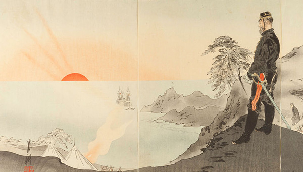 Ogata Gekko - Picture of Officers and Men Worshiping the Rising Sun (Quelle: Wikipaintings)