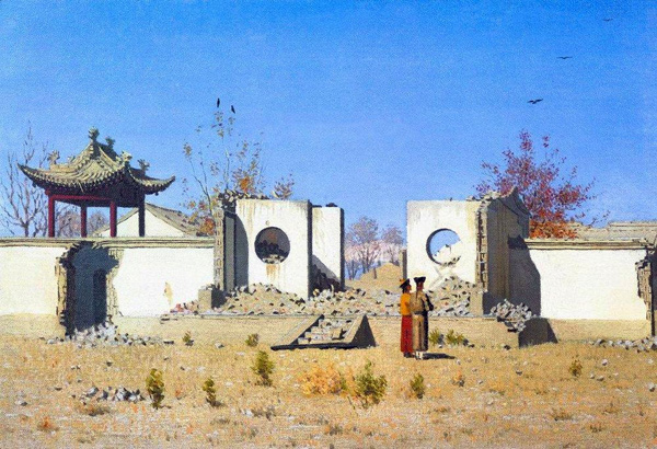 Vasily Vereshchagin - The ruins of the Chinese shrine (Quelle: Wikipaintings)