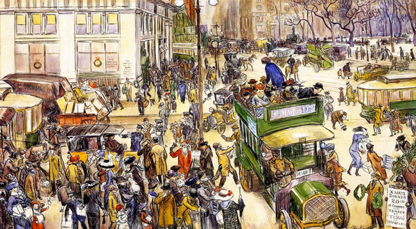 William James Glackens - Christmas Shoppers (Quelle: Wikipaintings)