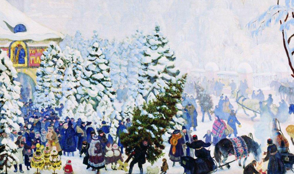 Boris Kustodiev - The Christmas Tree Bargain (Quelle: Wikipaintings)