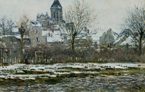 Claude Monet - L'église de Vetheuil dans la neige (Quelle: Wikipaintings)