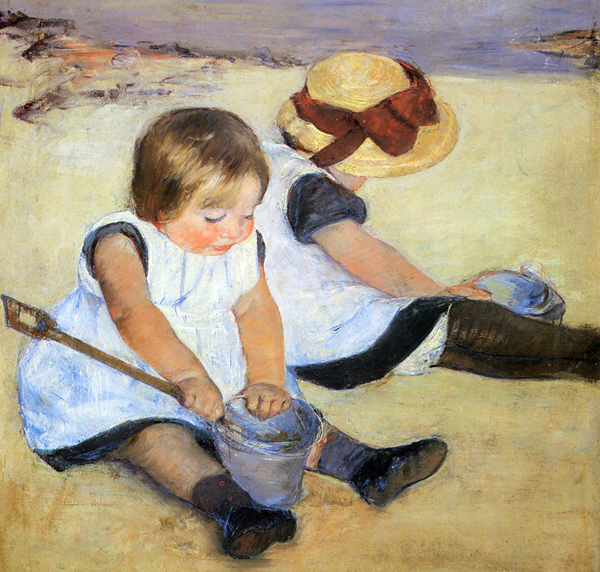 Mary Cassatt - Children playing on the beach (Quelle: Wikipaintings)