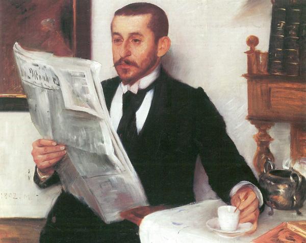 Lovis Corinth - Porträt des Malers Benno Becker (mit Kaffee) (Quelle: Wikimedia Commons)