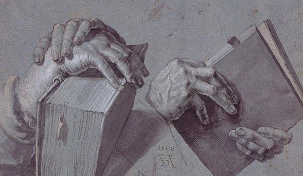 Albrecht Dürer - Hände, die Bücher halten (Quelle: Wikipaintings)