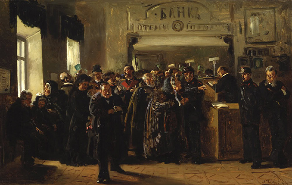 Vladimir Makovsky - The collapse of a bank (Quelle: Wikipaintings)