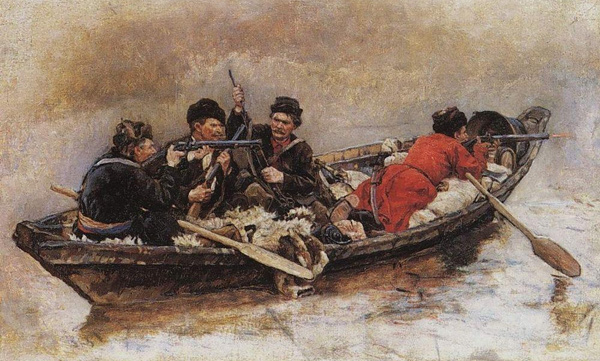 Vasily Surikov - Cossacks in a boat (Quelle: Wikipaintings)