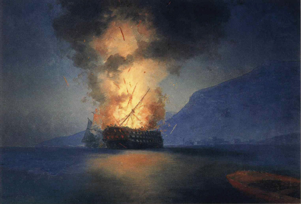 Ivan Aivazovsky - Exploding ship (Quelle: Wikiart)