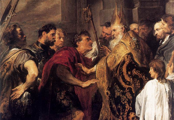 Anthony van Dyck - Emperor Theodosius Forbidden by St Ambrose To Enter Milan Cathedral (Quelle: Wikimedia Commons)