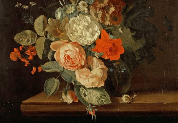 "Maria van Oosterwijk - Snail (from: ""A vase of flowers"") (Quelle: Wikimedia Commons)"