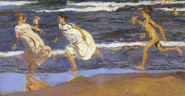 Joaquín Sorolla - Running along the beach (Quelle: Wikipaintings)