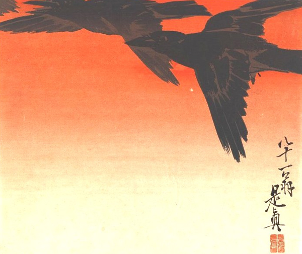 Shibata Zeshin - Crows fly by (Quelle: Wikiart)
