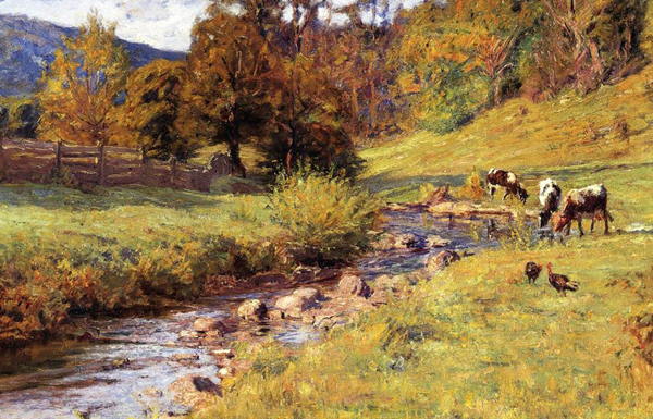 T.C. Steele - Tennessee Scene/Cows on the Meadows (Quelle: Wikiart)