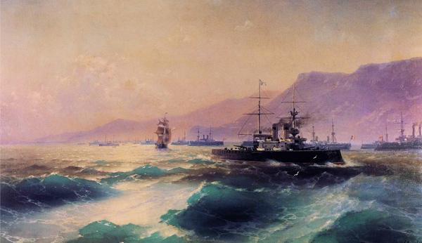 Ivan Aivazovsky - Gunboat off Crete (Quelle: Wikiart)