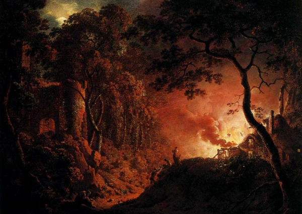 Joseph Wright - A cottage on fire (Quelle: Wikiart)