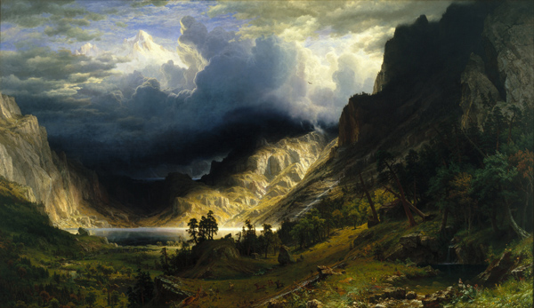 Albert Bierstadt - A Storm in the Rocky Mountains (Quelle: Wikimedia Commons)