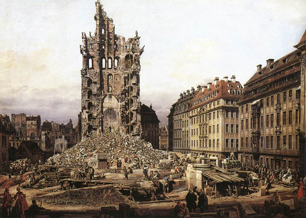 Bernardo Bellotto - The Ruins of the old Kreuzkirche, Dresden (Quelle: Wikiart)