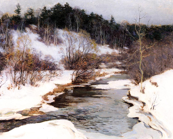 Willard Metcalf - The frozen pool, March (Quelle: Wikiart)