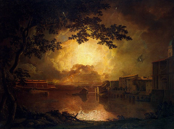 Joseph Wright - Firework Display at the Castel Sant' Angelo in Rome (Quelle: Wikiart)