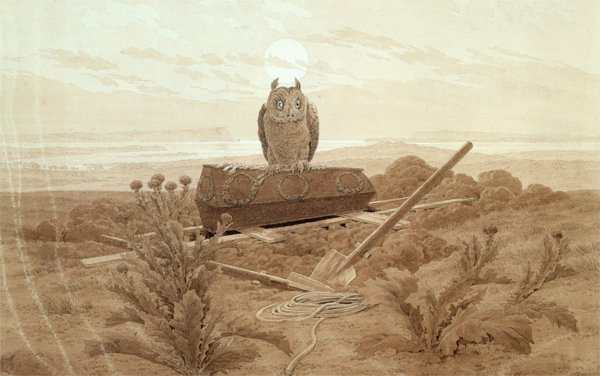 Caspar David Friedrich - Landscape with grave, coffin, owl (Quelle: Wikmedia Commons)