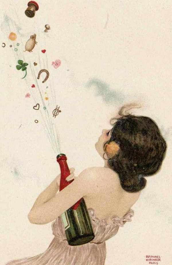 Raphael Kirchner - Neujahrspostkarte (Quelle: Pinterest)
